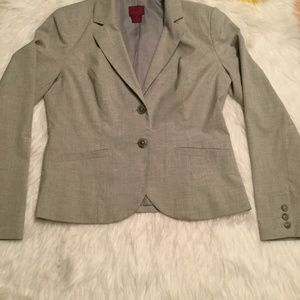 212 Collection Womens Gray Two Button Blazer 8